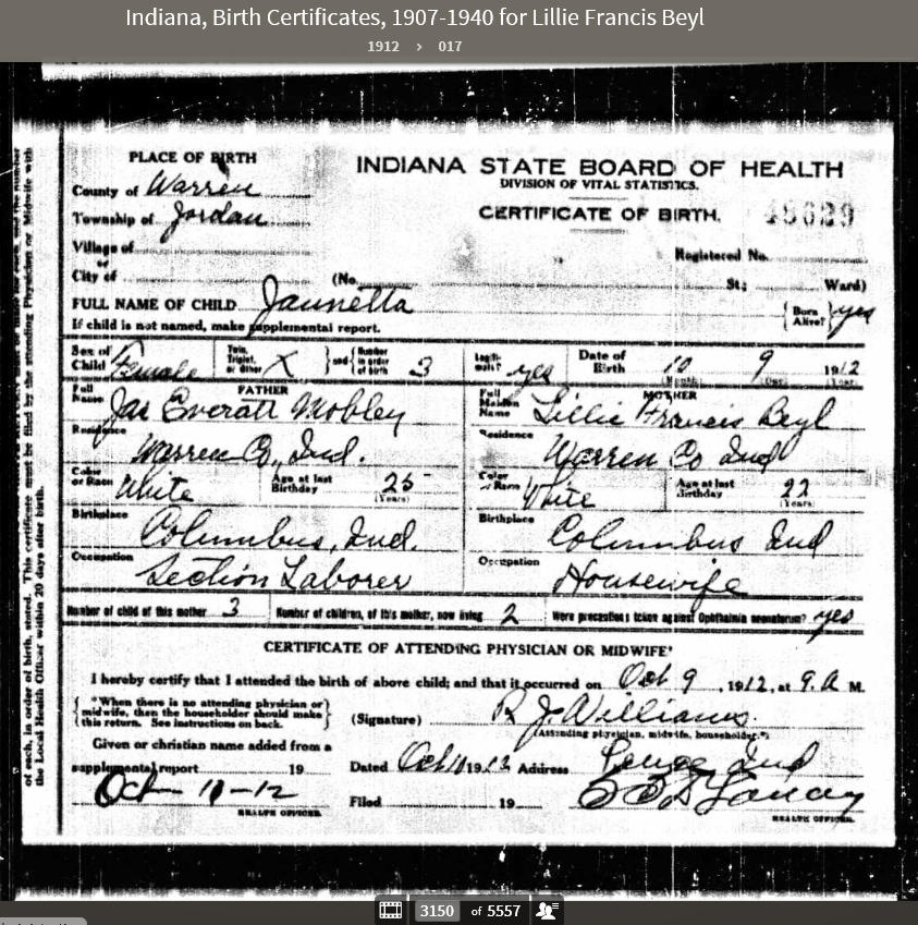 LFB 1912 Indiana Birth Certificates 1907-1940 - Jaunetta