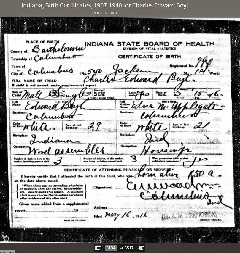 CEB 1916 Birth Certificate