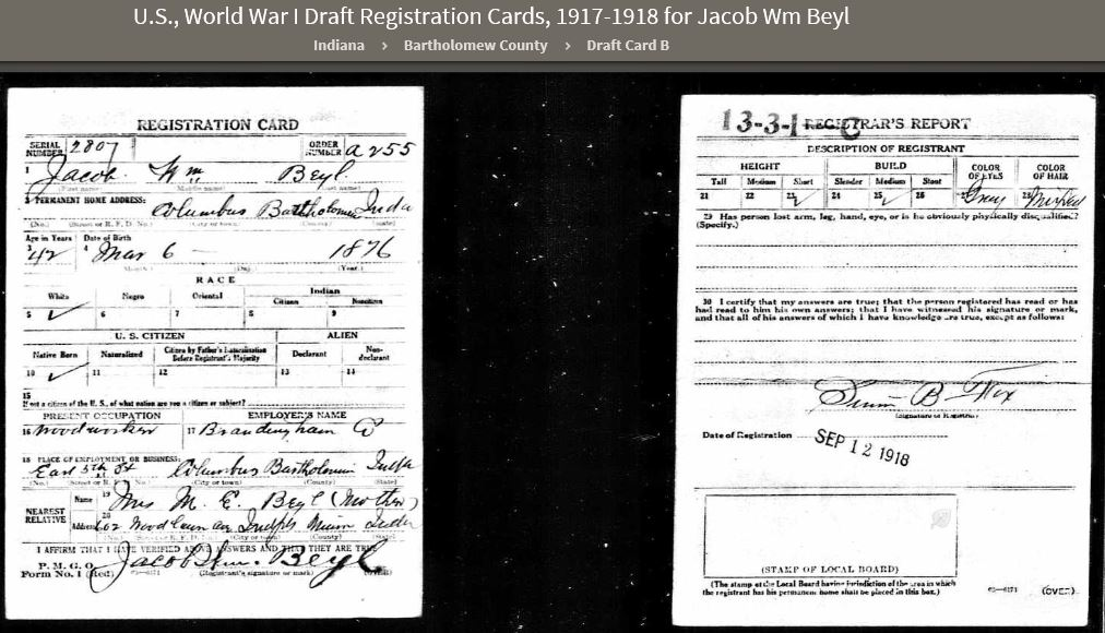JWBJ 1918 WWI Draft Registration Card