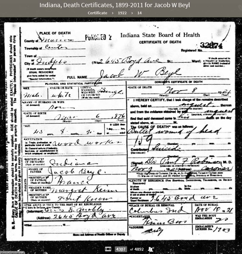 JWBJ 1922 Indiana Death Certificates 1899-2011