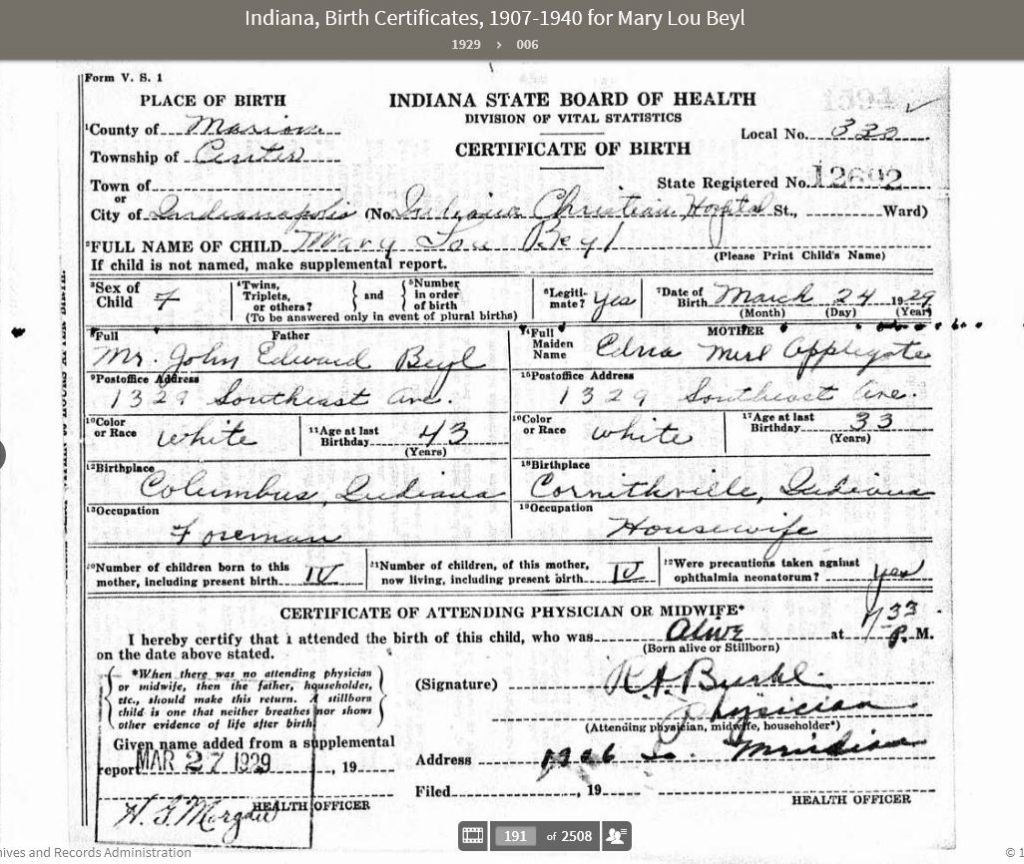 MLB 1929 Birth Certificate