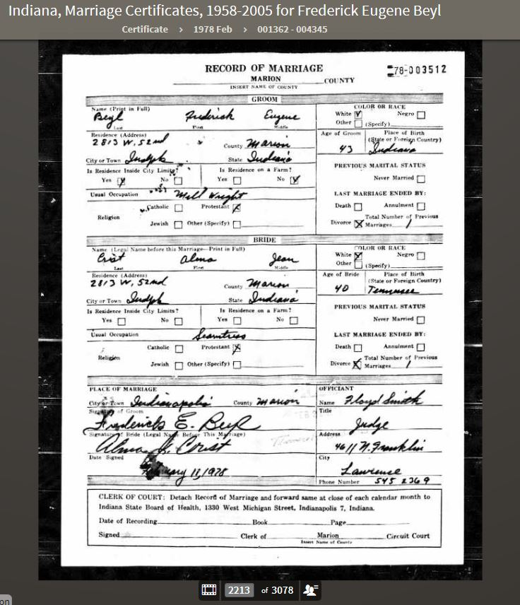 FEB 1978 Indiana, Marriage Certificates, 1958-2005