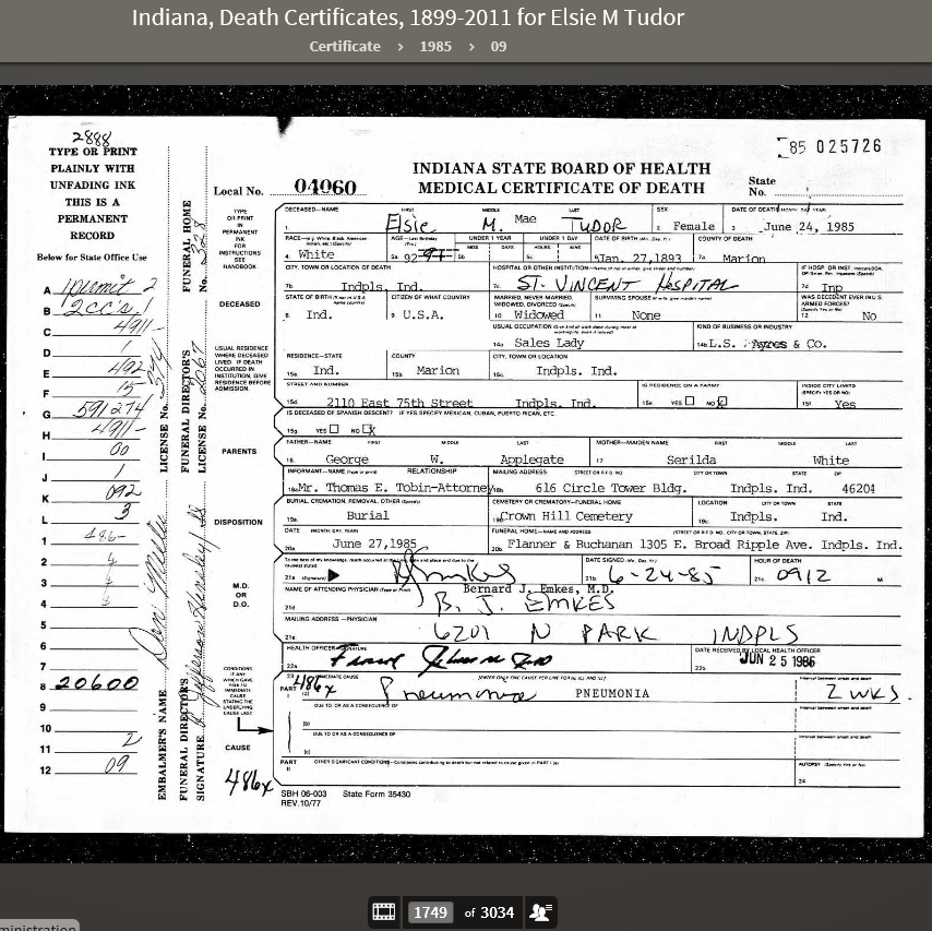 EMA 1985 Indiana, Death Certificates, 1899-2011