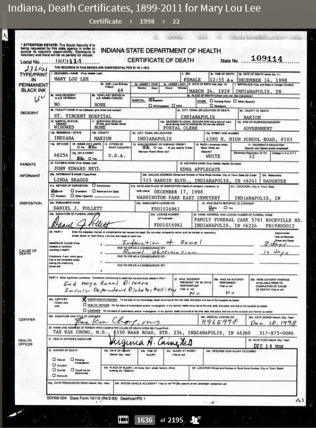 MLB 1998 Indiana, Death Certificates 1899-2011