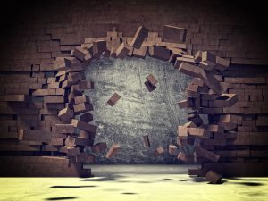 41045764 - explosion of brick 3d wall