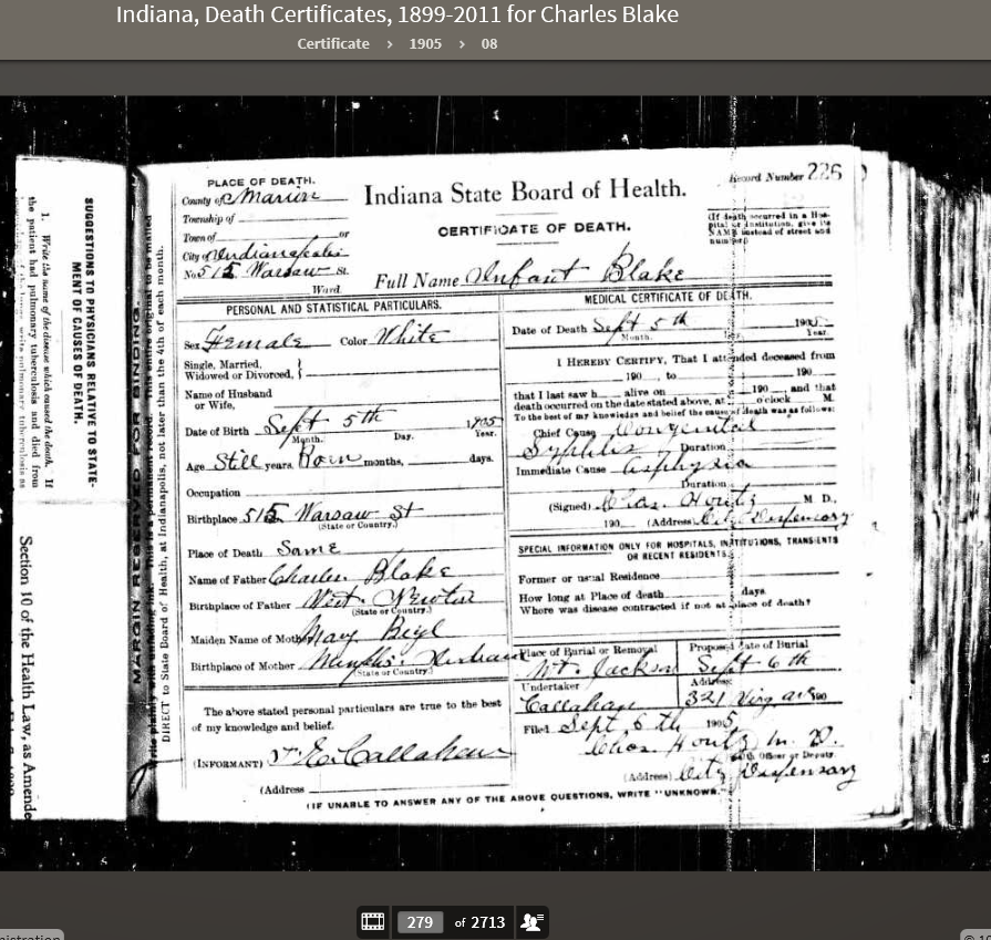 CAB 1905 Death Certificate for Stillborn
