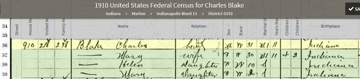 CAB 1910 United States Federal Census