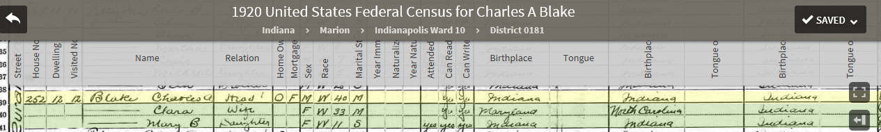 CAB 1920 US Federal Census