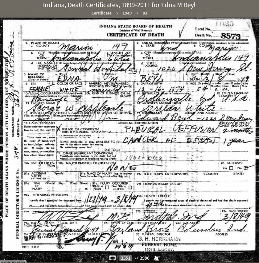 EMA 1949 Indiana Death Certificates 1899-2011