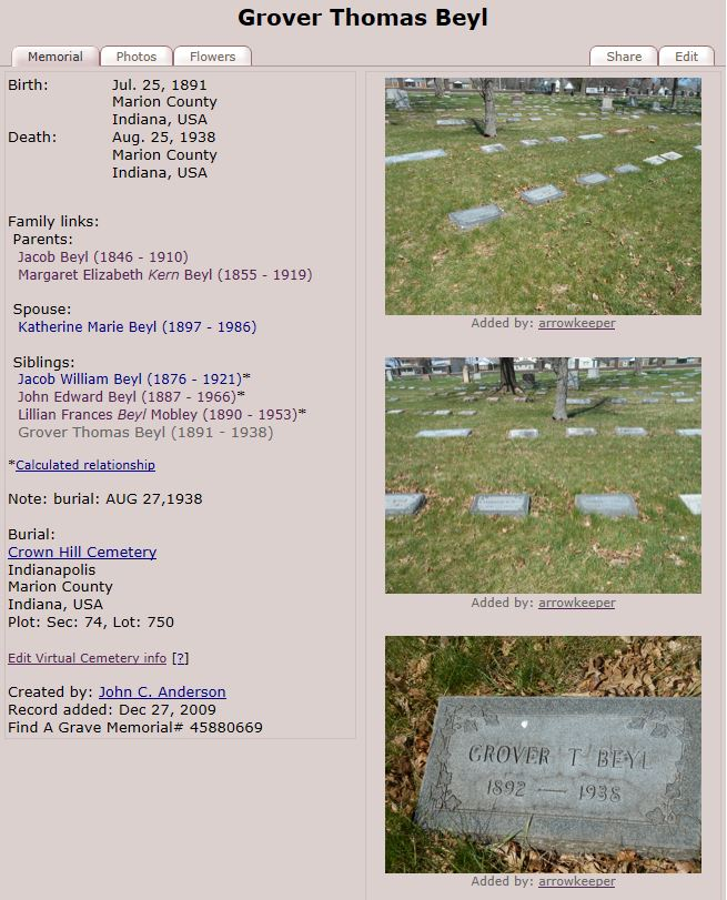 GTB 1938 US Find A Grave Index, 1600s-Current