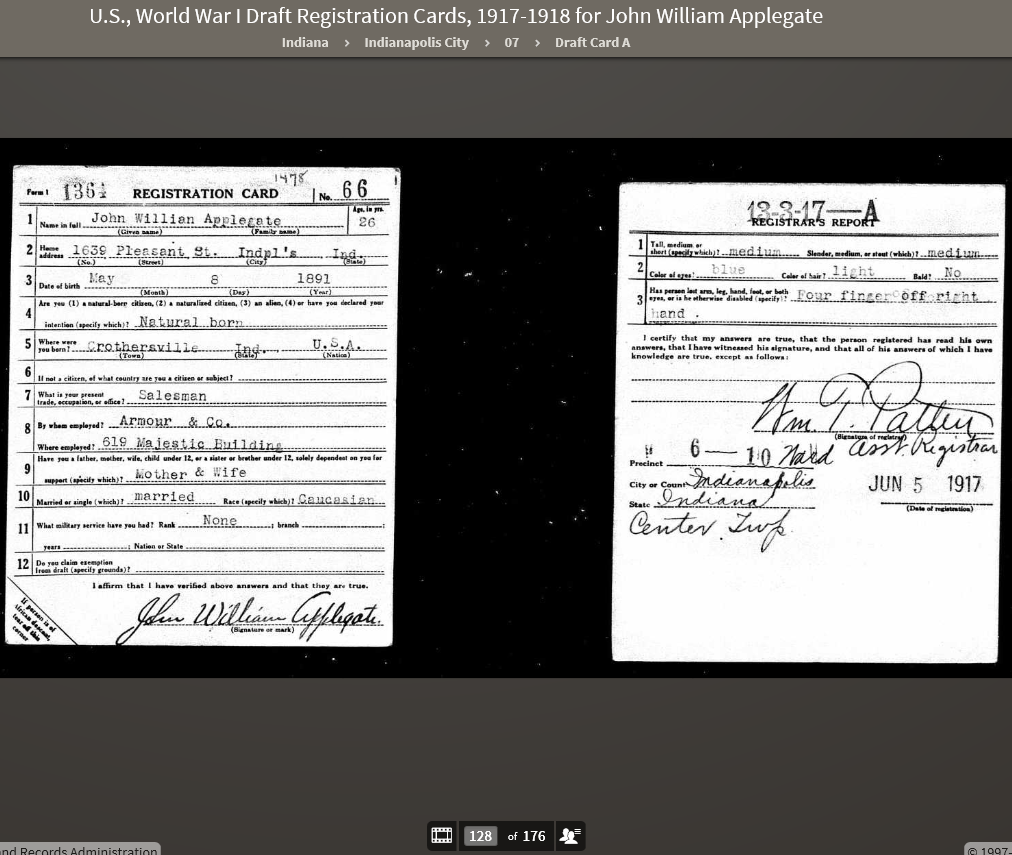 JWA 1917 WWI Draft Registration