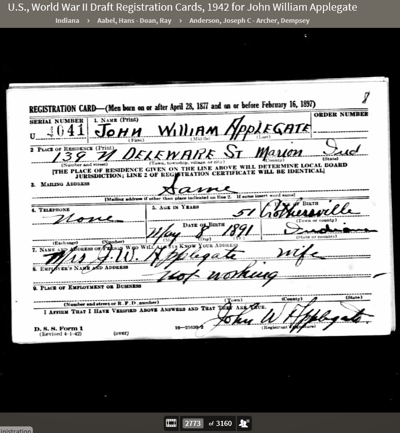 JWA 1942 WWII Draft Registration