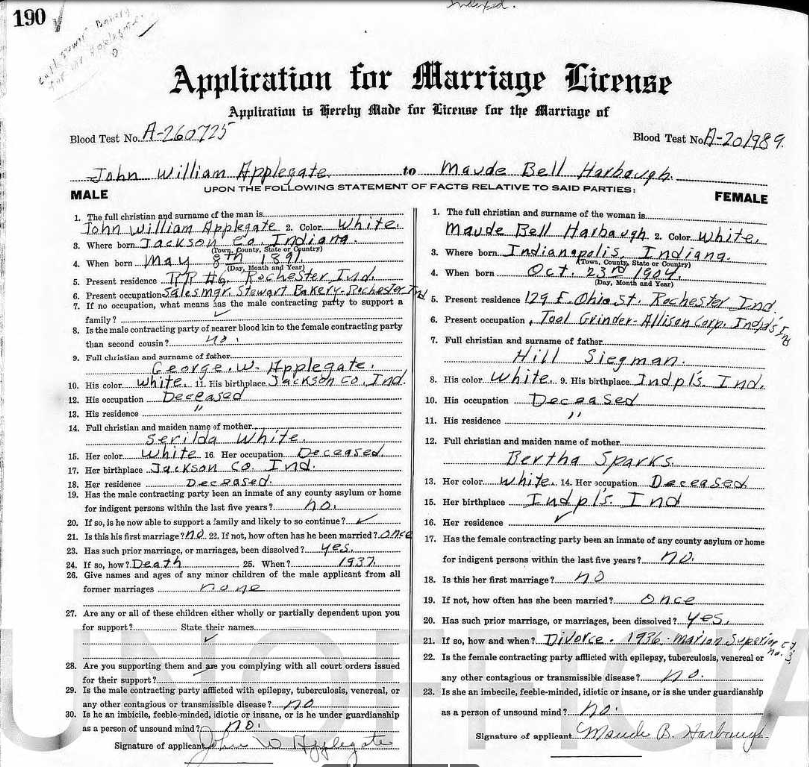 JWA 1949 Marriage License - 2