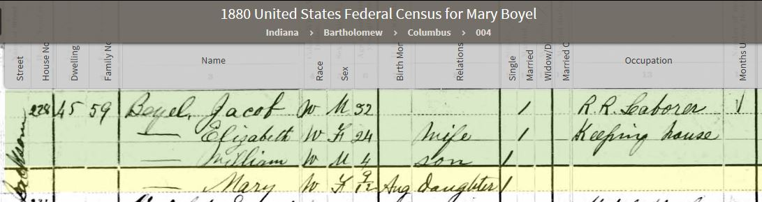 MEB 1880 United States Federal Census