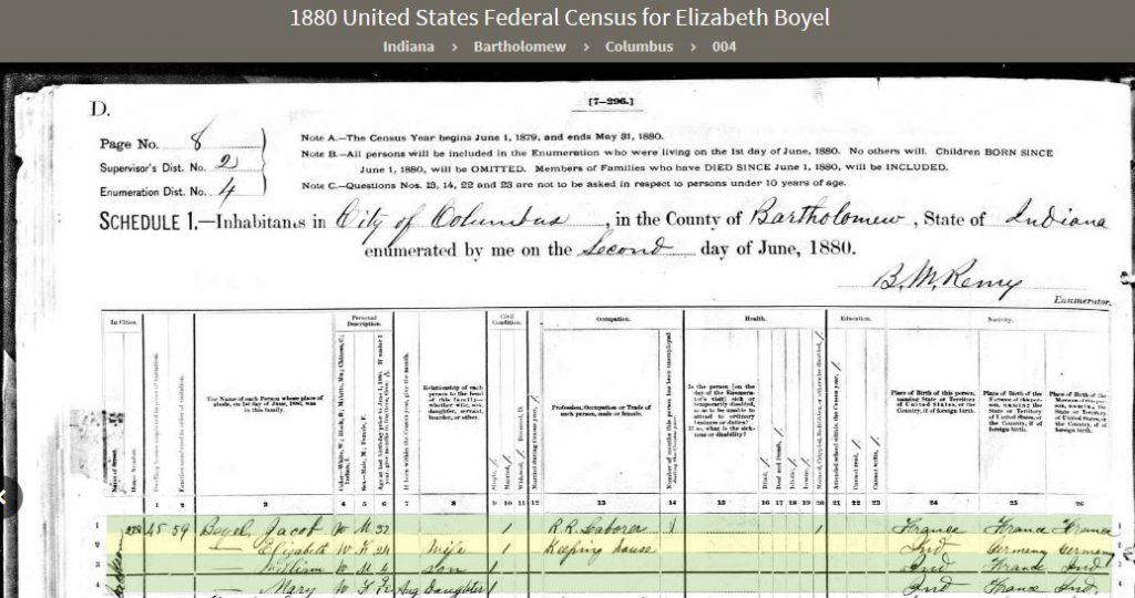 MEK 1880 United States Federal Census - 2