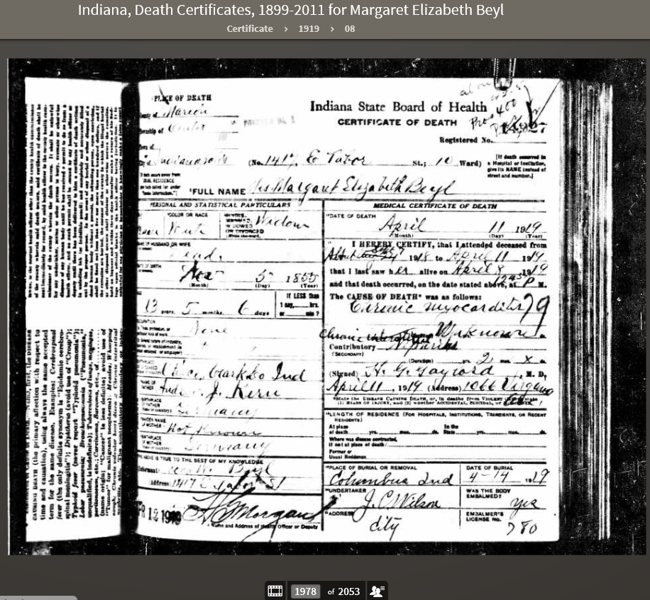 MEK 1919 Indiana, Death Certificates, 1899-2011
