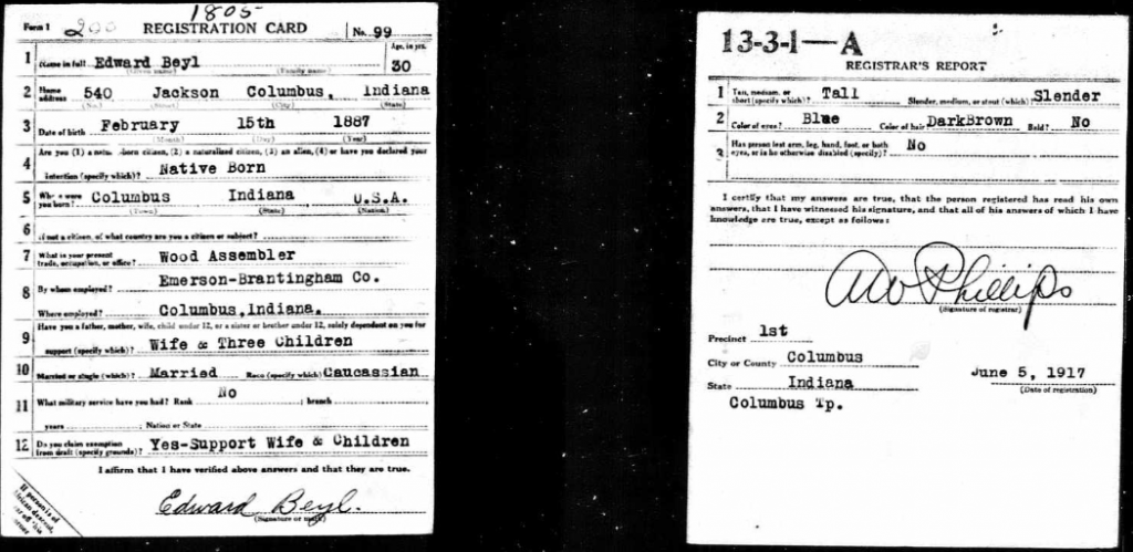 U.S., World War I Draft Registration Card