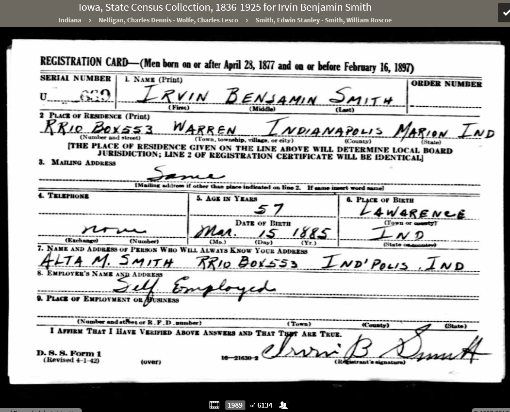 IBS 1942 WWII Draft Card