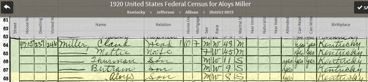 LAMS 1920 US Federal Census