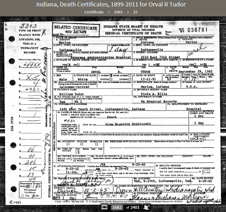 ORT 1965 Indiana, Death Certificates, 1899-2011
