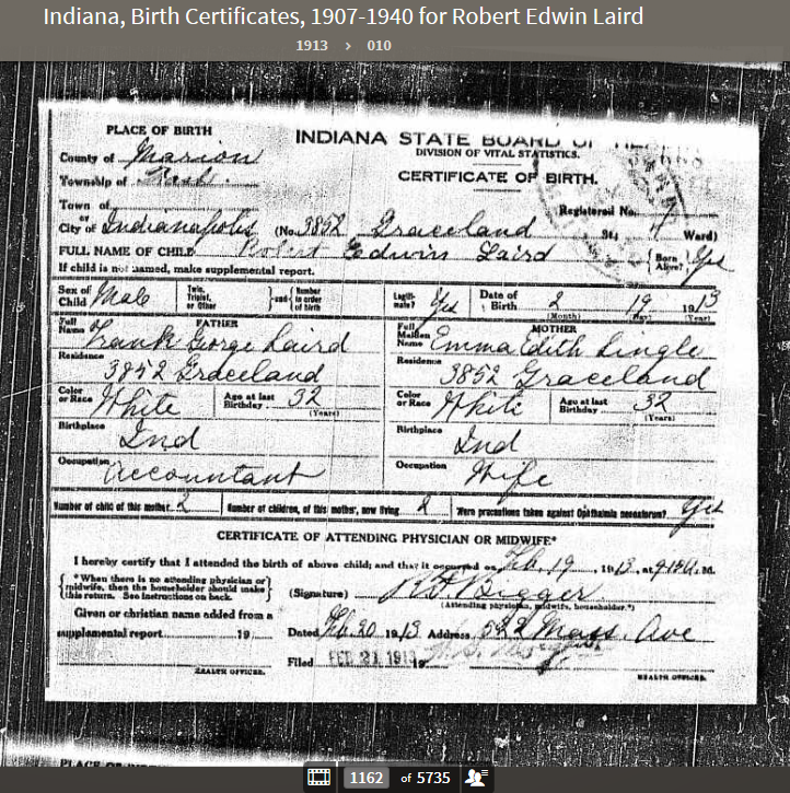 REL 1913 Indiana, Birth Certificates, 1907-1940