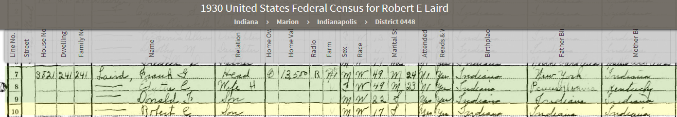 REL 1930 US Federal Census